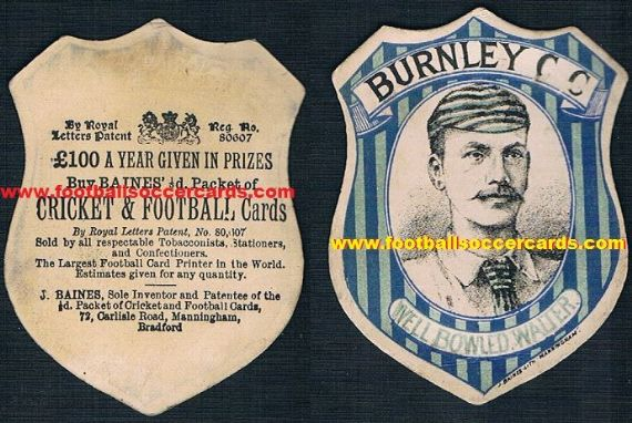 1880s Walter Sugg football Burnley Durham C Rochdale & cricket Yorks & Derbyshore CCC Baines Litho